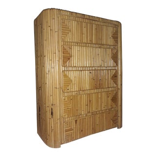 Vintage Split Reed Rattan Boho Chic Narrow 5 Drawer Highboy in the Manner of Gabriella Crespi For Sale