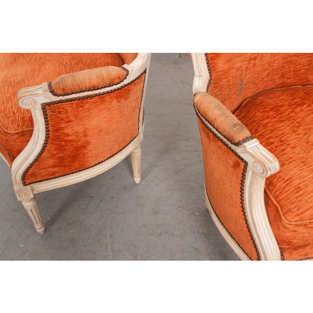 Orange French 19th Century Painted Louis XVI Style Bergères- A Pair For Sale - Image 8 of 13