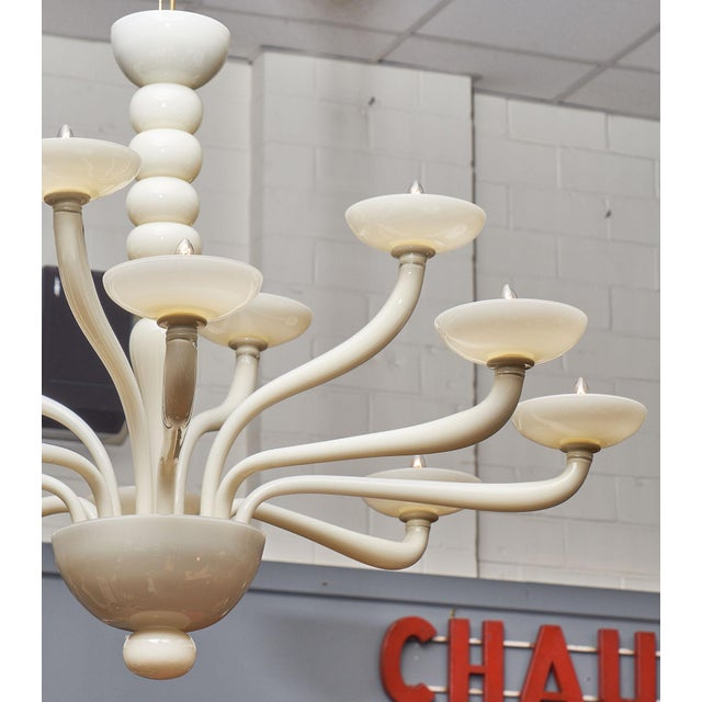 Ivory Murano Glass Chandelier For Sale - Image 4 of 10