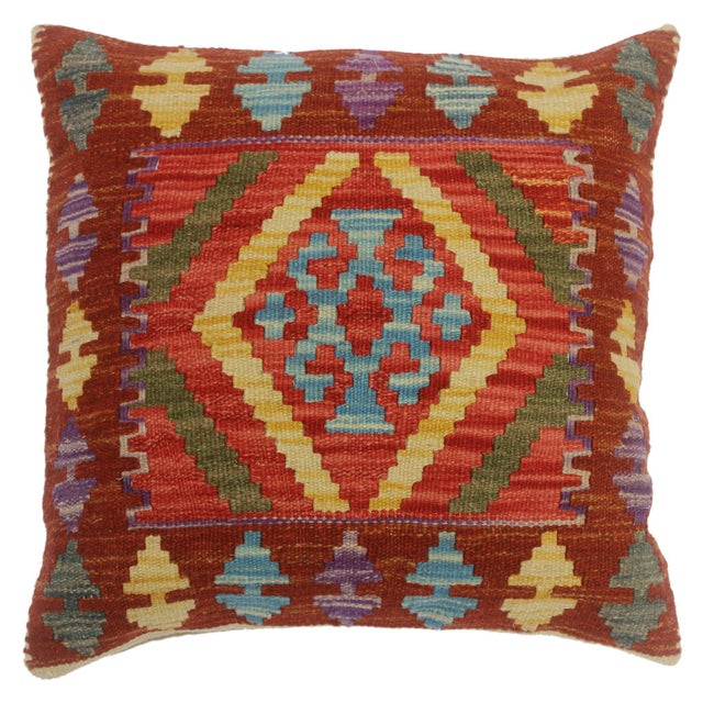 """Chelsie Red/Rust Hand-Woven Kilim Throw Pillow(18""""x18"""") For Sale In New York - Image 6 of 6"""