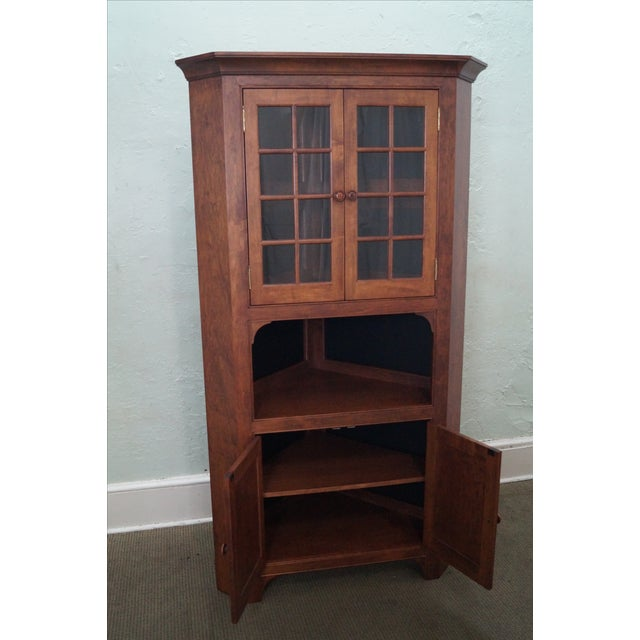 Custom Quality Solid Maple Country Corner Cabinet - Image 6 of 9