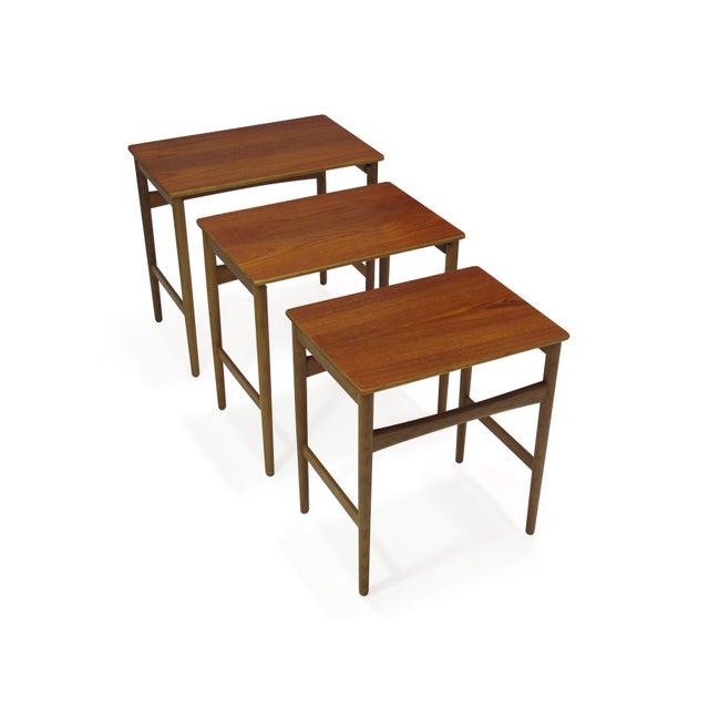 Hans Wegner Teak and Oak Danish Nesting Side Tables - Set of 3 For Sale - Image 9 of 11