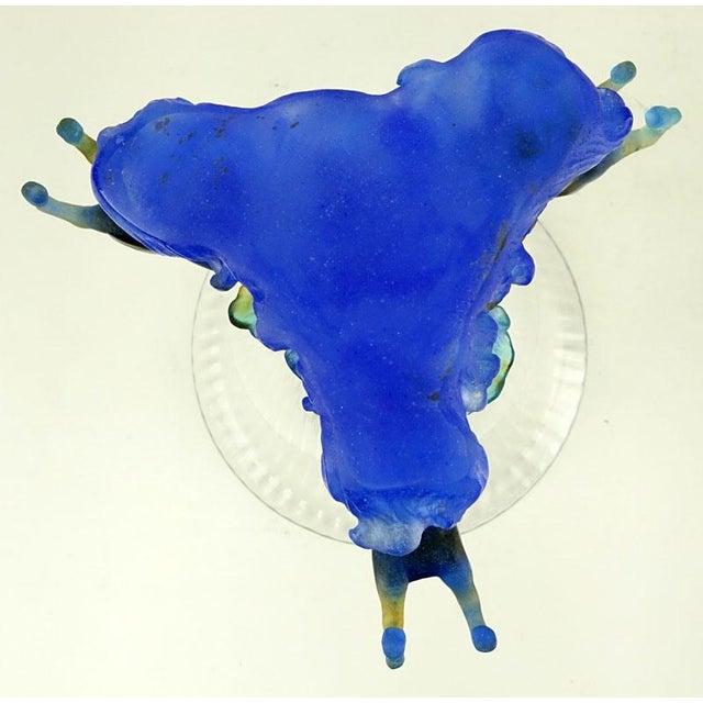 Daum Marly Blue Crystal & Pate De Verre Centerpiece Vase - Image 4 of 4
