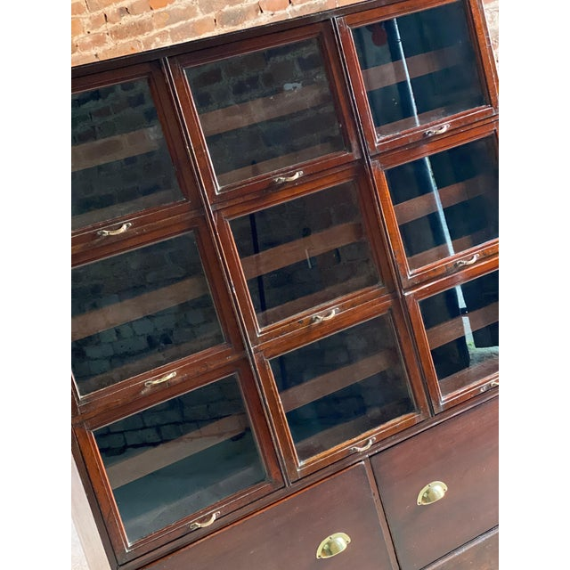 1940s Haberdashery Drapers Shop Display Cabinet Mahogany Loft Style, circa 1940 For Sale - Image 5 of 11