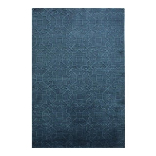 Edgard Coral Blue/Blue Wool Rug - 5'0 X 8'0 For Sale