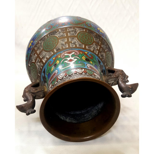 Japanese Japanese Enamel-Over-Bronze Champleve Vase With Peacock Head Handles Antique For Sale - Image 3 of 7