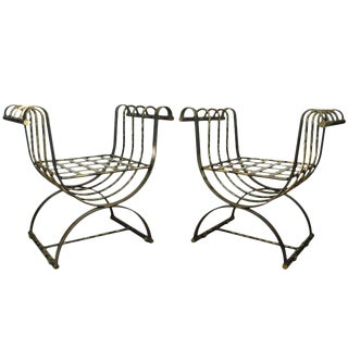Vintage Mid-Century Iron Neoclassical Style Curule Throne Benches - A Pair