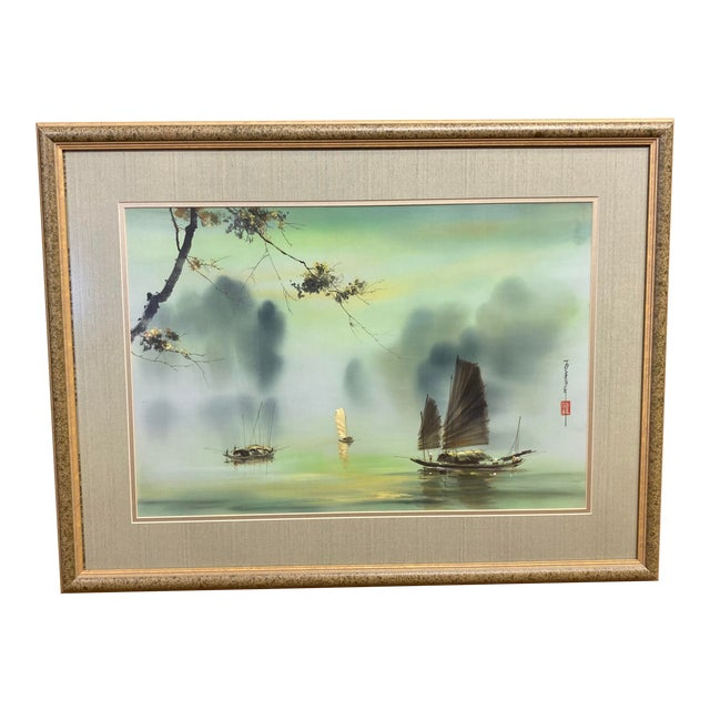 Harbor Scene Signed Painting on Silk For Sale
