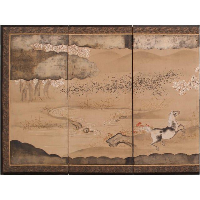 19th Century Late Edo Era Gold Leaf Japanese Byobu Screens- a Pair For Sale - Image 4 of 13