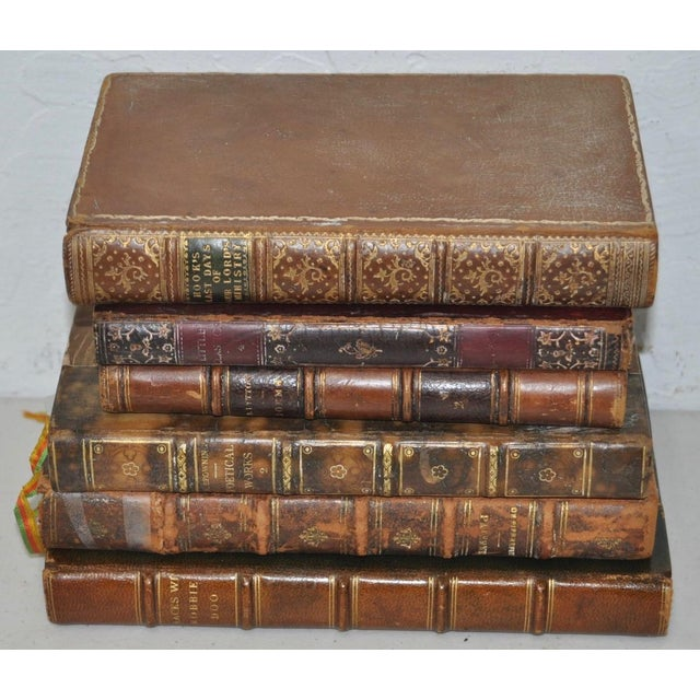 Antique Leather Bound Books - Set of 6 - Image 3 of 7