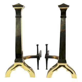 Pair of Gothic Revival Brass Andirons Firedogs in the Style of Augustus Pugin For Sale