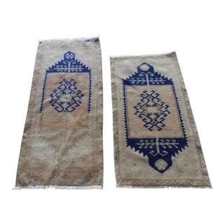 Muted Neutral Color Pair of Small Turkish Rug Floor Mats, Traditional Handwoven Oushak Wool Yastik Bath Mats Door Mat Narrow Runners For Sale