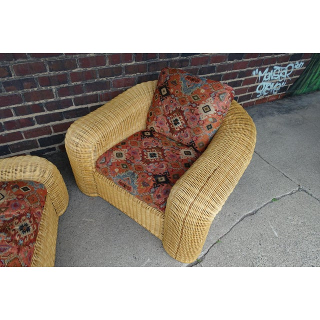 Preview Rattan Lounge Chair With Ottoman For Sale - Image 4 of 12