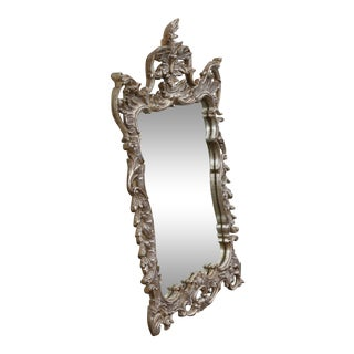 Silver Leaf Wood Carved Wall Mirror For Sale