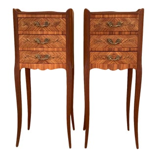Vintage French Louis XV Style Wood Nightstands With Three Drawers - a Pair For Sale