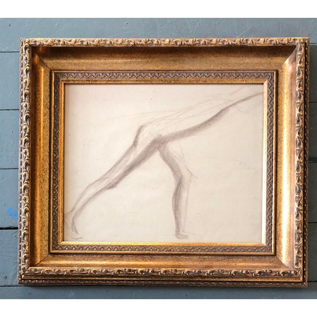 Original Deco Sepia Abstract Nude Study Drawing For Sale - Image 4 of 4