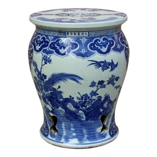 Chinese Blue & White Porcelain Flower Birds Scenery Round Stool Table