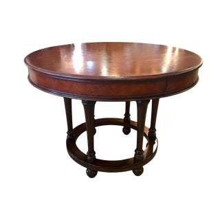 Traditional Ralph Lauren Leather and Walnut Round Center Table For Sale