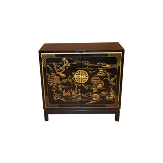Drexel Heritage Black Lacquer Chinoiserie Style Cabinet For Sale