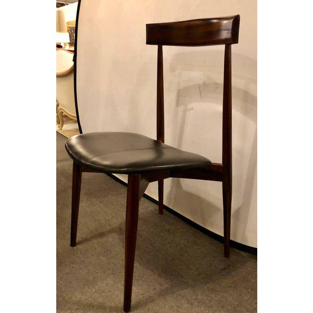 Set of Four Mid-Century Modern Slat Back Black Leather Side Chairs For Sale - Image 4 of 9