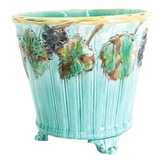 Mid 19th Century Majolica Jardiniere with Grapevine Motif For Sale