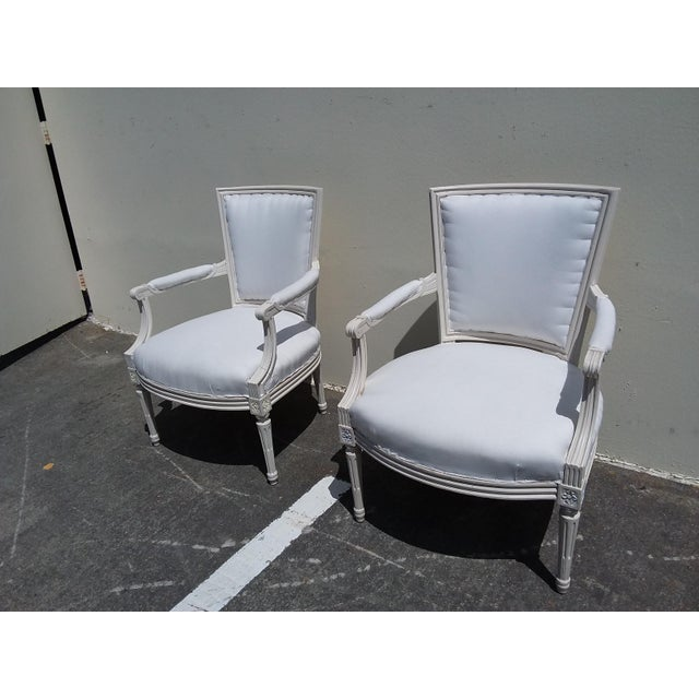 1960s French Style White Arm Chairs - A Pair For Sale - Image 5 of 11