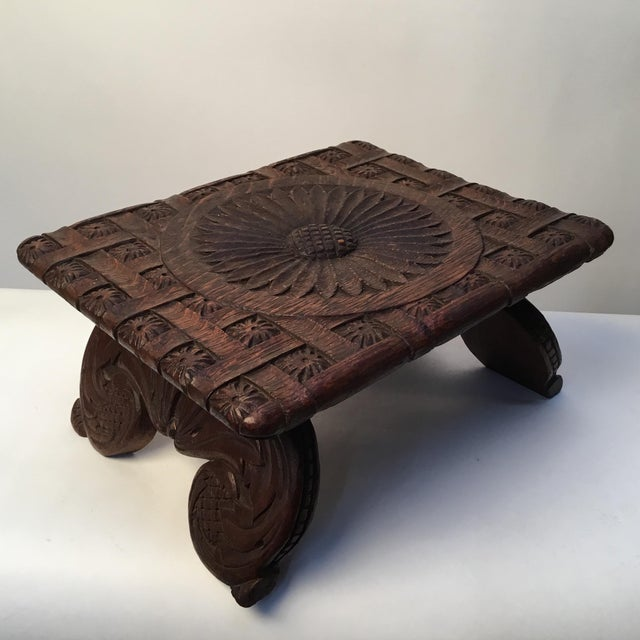 Brown 1900s Antique English Hand Carved Footstool For Sale - Image 8 of 12