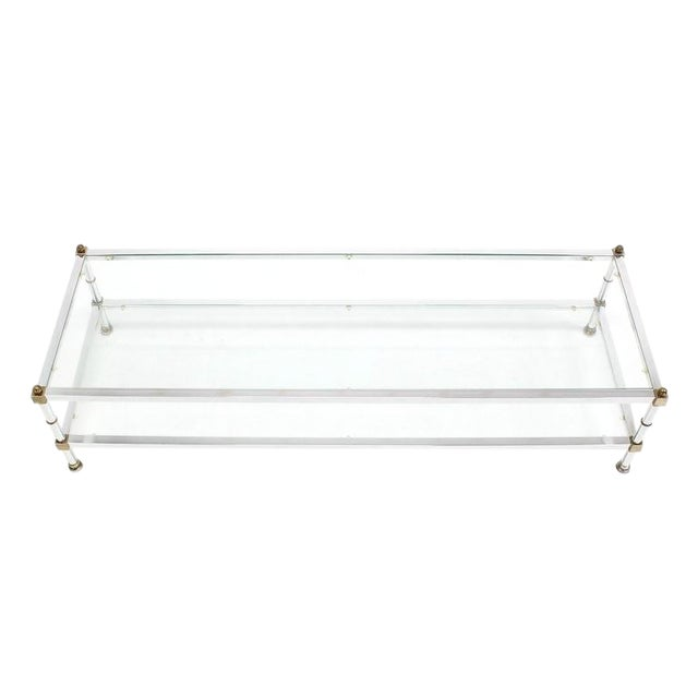 Mid-Century Modern Chrome Brass Glass Top Large Rectangular Coffee Table For Sale