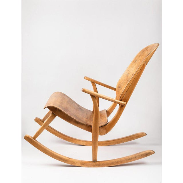 Rare 1940s Rocking chair by Ilmari Tapiovaara. This extremely rare and beautiful chair was fabricated in European birch by...