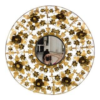 Italian Mid-Century Gilt Tole Floral Wall Mirror For Sale