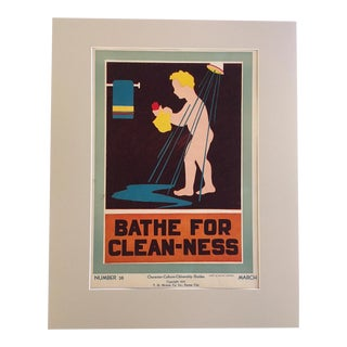 """Vintage 1930's """"Bathe for Clean-Ness"""" Classroom Poster"""