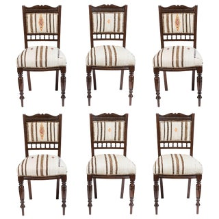 Vintage Dining Chairs in Turkish Rug - Set of 6 For Sale
