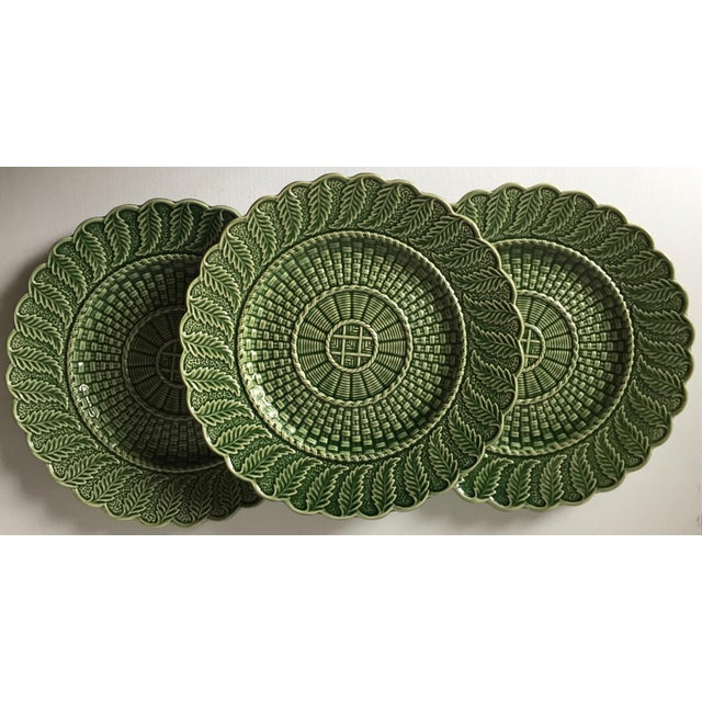 1980s 6 Green Majolica Basket Weave Dishes-Bordallo Pinheiro For Sale - Image 5 of 10