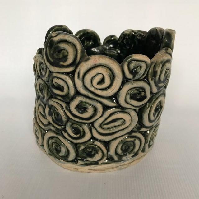 Green Glazed Swirl Pottery Cachepot - Image 2 of 8