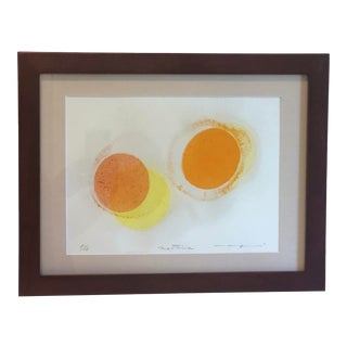 """1990s """"Egg Yolks"""" Abstract Block Print by Mattina, Framed For Sale"""