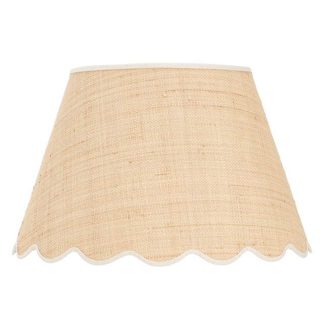 Matilda Goad Signature Scallop Lampshade in Raffia With Cream Trim, Large For Sale