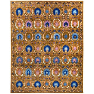 """Suzani Hand Knotted Area Rug - 9'3"""" x 11'7"""" For Sale"""