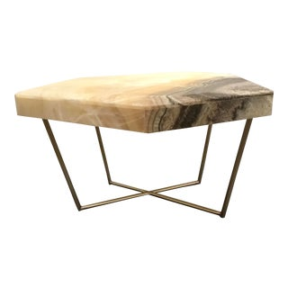 Sherrill Occasional Modern Onyx and Silk Nickel Geometric End Table For Sale