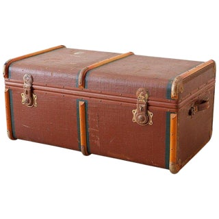Early 20th Century Painted Steamer Travel Trunk For Sale
