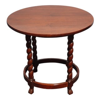 Vintage French Country Small Round Side Table End Table W Barley Twist Legs For Sale