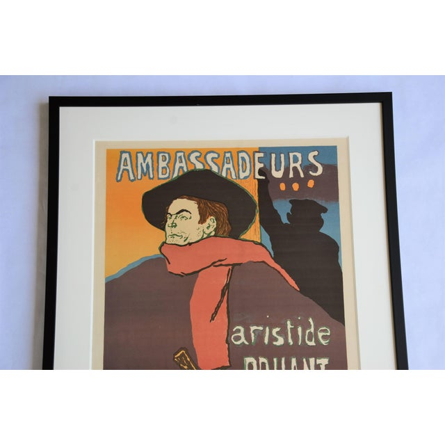 "Mid 20th Century Framed Lithograph Print ""Aristide Bruant - Ambassadeurs"" by Henri De Toulouse-Lautrec For Sale - Image 5 of 13"