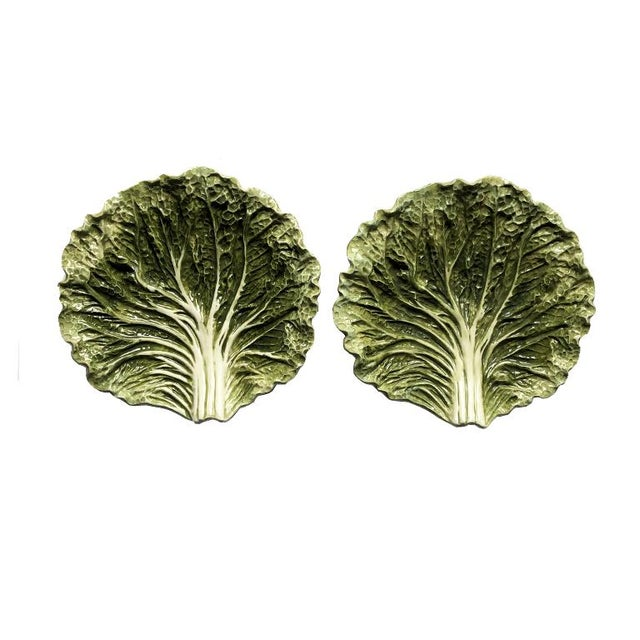 1950s Majolica 1950s Fitz and Floyd Green Cabbage Ware Plates - a Pair For Sale - Image 5 of 5