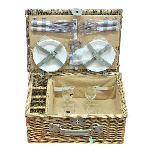 Wicker Picnic Basket With Flatware, Plates & Wine Glasses - Set of 21 For Sale
