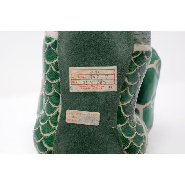 Green Vintage Ceramic Monkey Holding a Leaf Dish For Sale - Image 8 of 11