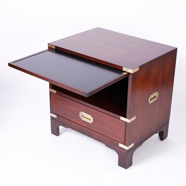 Mid 20th Century Midcentury Campaign Style Nightstands - A Pair For Sale - Image 5 of 10