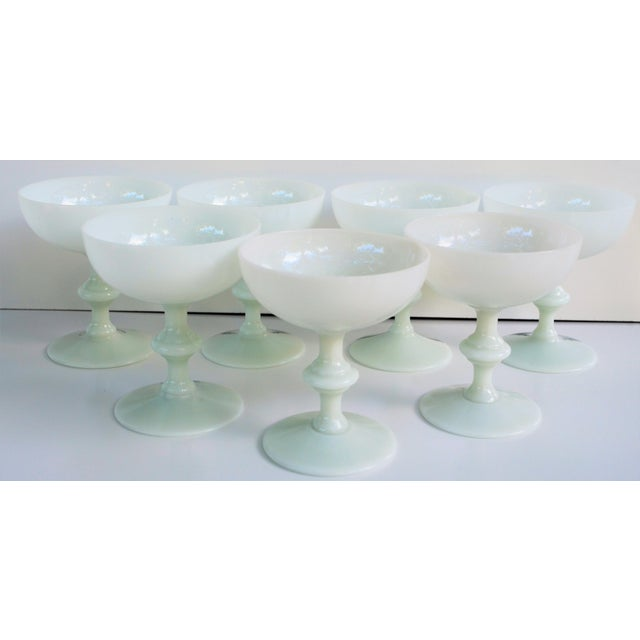 French 1970s Portieux Vallerysthal French Ivory Opaline Champagne Coupes - Set of 7 For Sale - Image 3 of 9