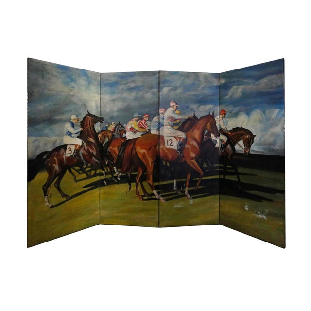 Late 20th Century Folding Screen - Hand Painted For Sale - Image 5 of 5