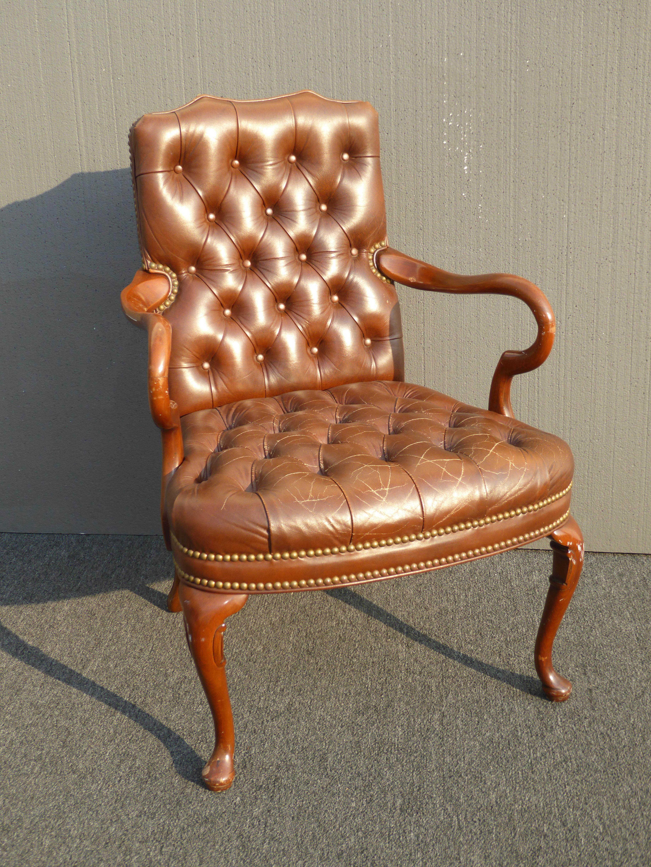 Superieur Vintage Schafer Bros Tufted Burnt Orange Leather Accent Chair Chairish