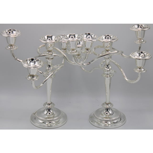 Late 19th Century English Silver Plated Candelabras - a Pair For Sale - Image 4 of 10