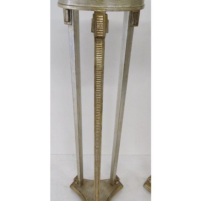 Italian Silverleaf Painted Pedestals - A Pair - Image 3 of 6